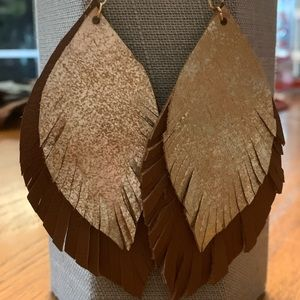 Leather feather earrings! Hand made and hand cut